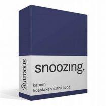 Snoozing katoen hoeslaken extra hoog Beddengoed Blauw Katoen