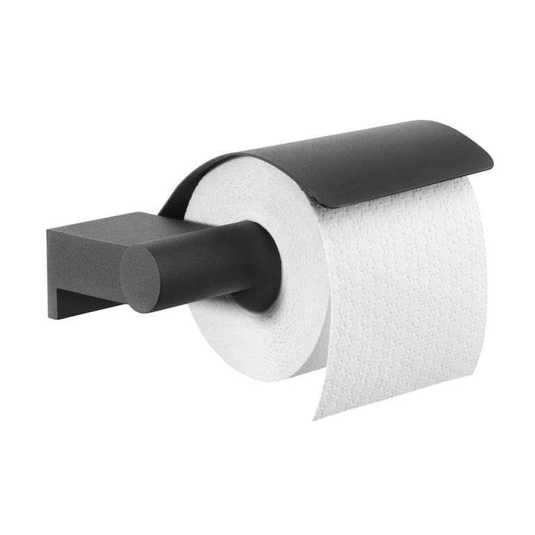 Tiger Bold Toiletrolhouder met klep Toiletaccessoires Zwart Metaal