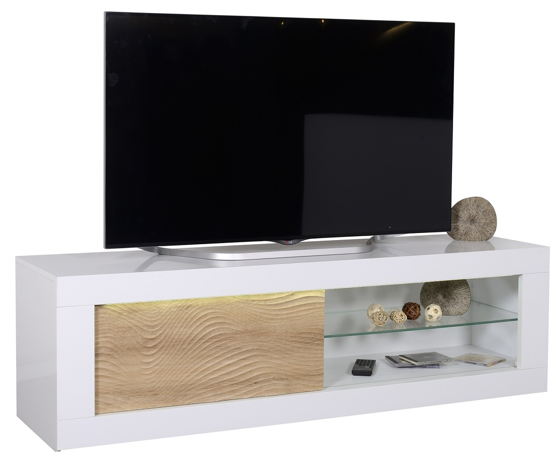 Tv Meubel In Wit Hoogglans.Tv Meubel Karma 170 Cm Breed Hoogglans Wit Met Eiken Led