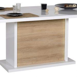 0.00 - Uitschuifbare Eettafel Karma 180 tot 225 cm breed - hoogglans wit met eiken - Eetkamertafels
