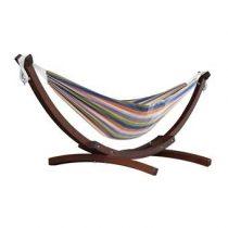 Vivere Double Cotton Hangmat met Standaard Tuinmeubelen Multicolor Hout