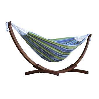 Vivere Double Cotton Hangmat met standaard Tuinmeubels Multicolor Hout