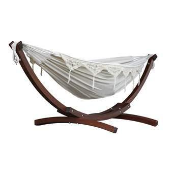 Vivere Double Cotton Hangmat met standaard Tuinmeubels Wit Hout