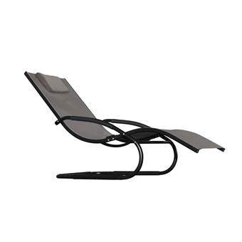 Vivere Wave Lounger Tuinstoel Tuinmeubels Zwart Aluminium
