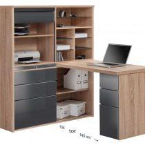 0.00 - Volvo Mini Office bureau - Sonoma Eiken met hoogglans Grijs - Kantoortafels
