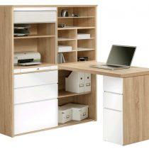 0.00 - Volvo Mini Office bureau - Sonoma Eiken met hoogglans wit - Kantoortafels