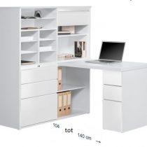 0.00 - Volvo Mini Office bureau - Wit met hoogglans Wit - Kantoortafels