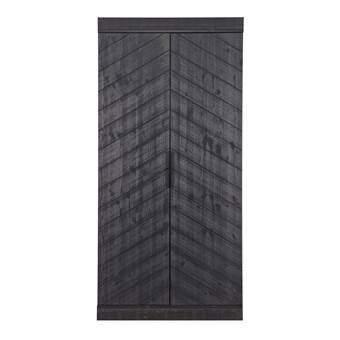 Woood Connect Kast 2-deurs Visgraat met planken en roede Kasten Zwart Hout