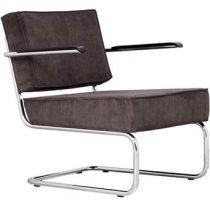 Zuiver Lounge Chair Ridge Rib Leuning Stoelen Bruin