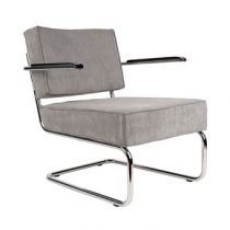 Zuiver Lounge Chair Ridge Rib Leuning Stoelen Grijs