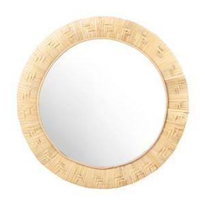 &k amsterdam Bamboo Weave Spiegel Ø 40 cm Woonaccessoires Bruin Bamboe