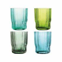 &k amsterdam Riffle Glazen - 4 st. Glazen Groen Glas